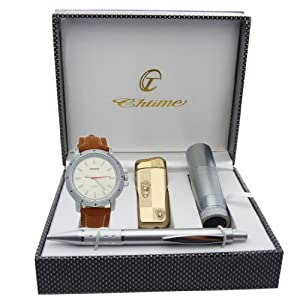 Montre Concept - Gift Box CBL - lighter - torch - men's Analog Watch - Camel Synthetic Strap / Bracelet - Round Dial Silver Color Background