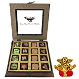 Chocholik - 16Pc Belgian Dark Chocolate With Small Ganesha Idol - Gifts For Diwali