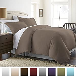 Beckham Hotel Collection® Luxury Soft Brushed 1800 Series Microfiber 3 Piece Duvet Cover Set - King/Cal.King, Taupe/Solid