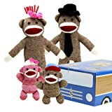 This sock monkey family is perfect for any child! These stylishly dressed monkeys provide classic twists on retro toys.  The family consists of Mr. Coconuts, his wife, Cupcake, and their two children, Daisy May and Joey. <br><br> Mr. Coconut wears a black top hat and tie. Featuring a classic brown sock monkey body with red lips, he measures 18 inches tall, including his hat.  <br><br> Cupcake wears a white hat and pink bow. She is also a brown sock monkey with red lips and measures 18 inches tall, including her hat.  <br><br> Daisy May is a pink baby sock monkey measuring 6.5 inches tall. She wears a white hat and pink bow similar to her mom's. Daisy May also has a few fuchsia-toned stripes on her body.  <br><br> Joey is a brown baby sock monkey and measures 6.5 inches tall. He wears a blue and red hat.  <br><br> This family enjoys a typical sock monkey lifestyle. Mr. Coconuts spends his days working at the local banana factory while Cupcake enjoys crocheting banana blankets for baby sock monkeys at the zoo. Daisy May is an active member of Banana Scouts while her younger brother, Joey, enjoys eating banana-cream pudding pies. Both children attend Banana Elementary School.  <br><br> The monkeys come housed in a cardboard car so your child can enjoy hours of driving them to their daily activities. Each car has four cutouts so the monkeys can see out the window. The cars also have cardboard tires that pop out for added fun. These cute sock monkeys are made from polyester fibers and are recommended for ages 3 and up.