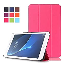 Tab A 7.0 Case, Pasonomi Ultra Slim Lightweight PU Leather Folio Case Stand Cover for Samsung Galaxy Tab A 7.0 7-inch Tablet 2016 Release (SM-T280 / SM-T285) (Hot Pink)