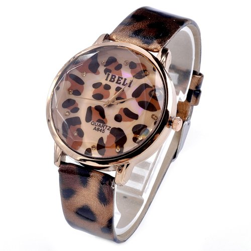 Brown Leopard Print Rosy Golden Case Quartz Women Ladies Watch Wristwatch A645