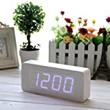 EiioX Rectangular Wooden Alarm Clock/ White Wood Grain Blue LED Clock/ Time Thermometer Date Display Voice and Touch Activated