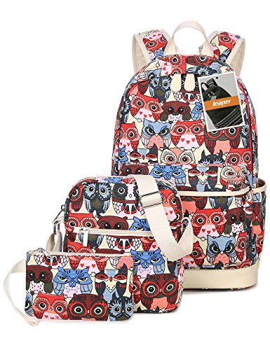 leaper-cute-owl-pattern-school-backpack-set-bookbag-shoulder-bag-pencil-bag-3pcs-red