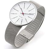 Rosendahl Arne Jacobsen Bankers Unisex Quartz-Uhr mit weißem Zifferblatt Analog-Anzeige und Silber-Edelstahl-Armband 43423