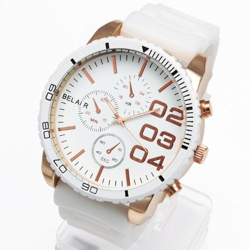 AC-W-JH33 52mmビッグフェイス腕時計 メンズ腕時計 Bel Air collection[ベルエアコレクション] [並行輸入品] ホワイト