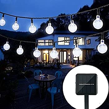 Bolansi Solar String Light 20 ft 30LED Crystal Ball Waterproof String Lights Solar Powered Fairy Lighting for Garden Home Landscape Holiday Decorations(white)