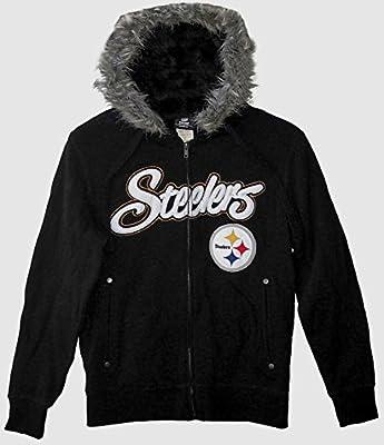NFL Pittsburgh Steelers Women's Fur Trimmed Hooded Sweatshirt Jacket