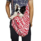 New Pet Sling-style carrier Dog Cat sling Bag -Red and White Printing Small Size