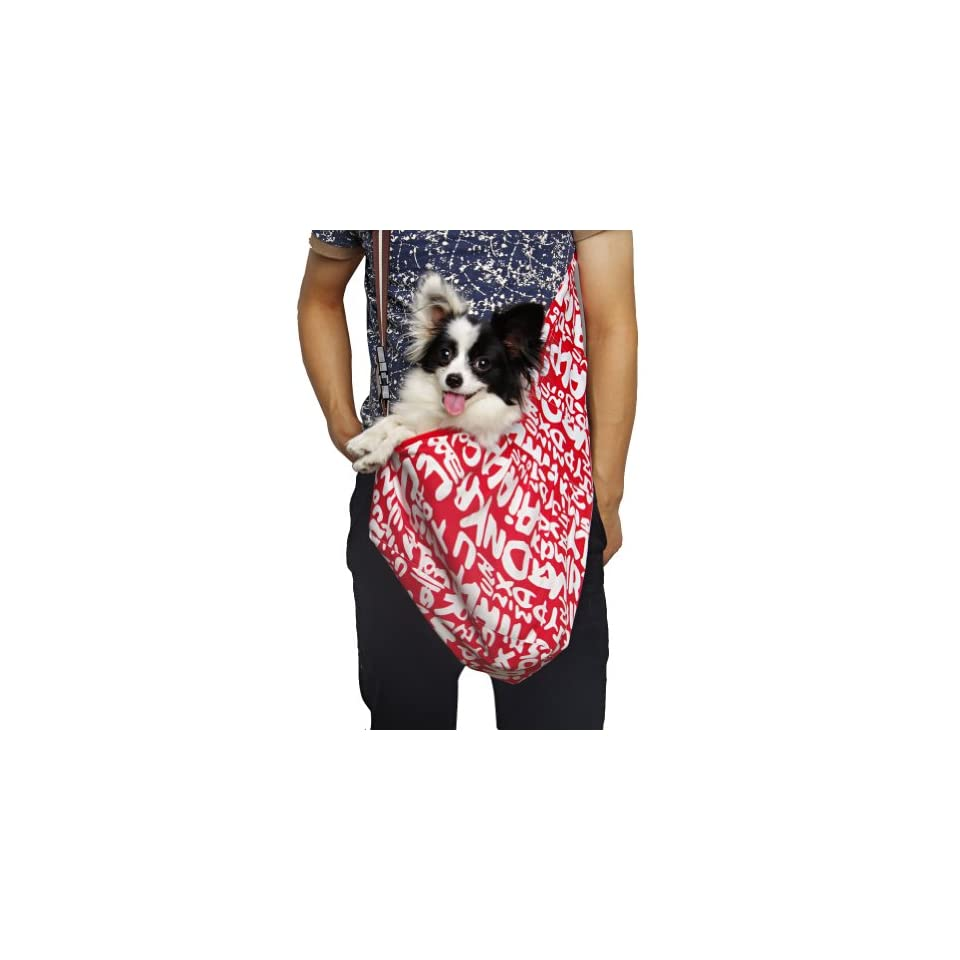 New Pet Sling style carrier Dog Cat sling Bag  Red and White Printing Small Size