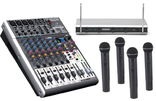Behringer X1204Usb Xenyx Mixer With Samson V466-A 4 Channel Wireless Handheld System