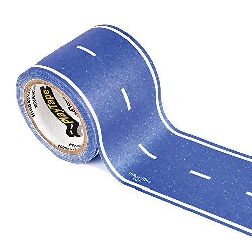 PlayTape Classic Road, Blue Road - Instantly Create your Own Roads Anytime, Anywhere - For All Kids Who Love Cars & Trains - Perfect for Birthday Gifts & Endless Fun (Blue Road 30'x2