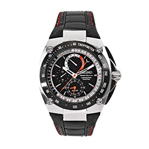 Buy Seiko Mens SPC047P2 Sportura Black Leather Strap Black Chronograph Dial Watch by Seiko
