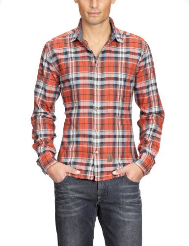 TOM TAILOR Herren Freizeithemd 20177670010/Floyd flanell check shirt, Gr. 44/46 (S), Orange (3150)