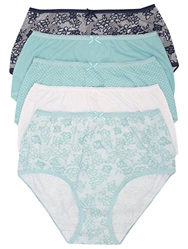 M&Co Ladies Lace Print Full Brief Multipack With Plain And Spot Design 100% Cotton Turquoise 14/16