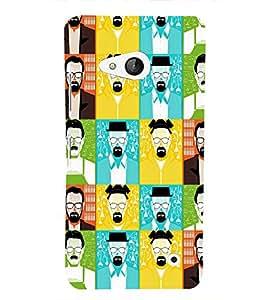 PrintVisa Corporate Print & Pattern Faces Man 3D Hard Polycarbonate Designer Back Case Cover for Nokia Lumia 550