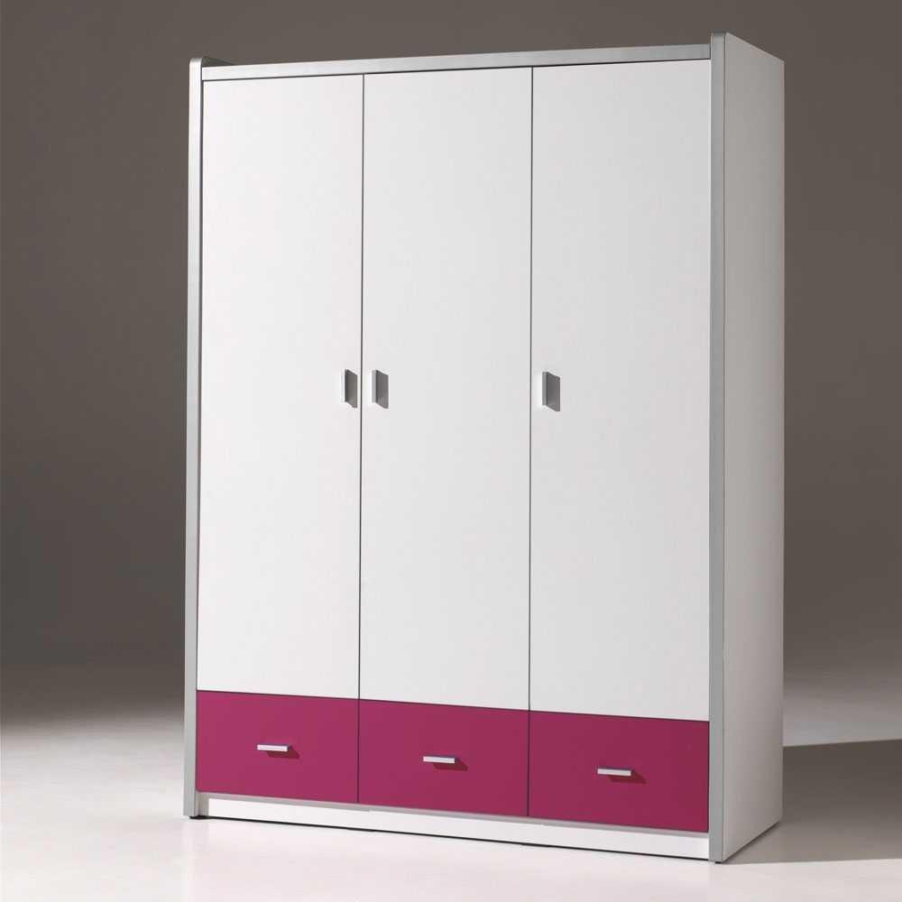 Jugendzimmerschrank Tinn in Weiß-Pink Pharao24