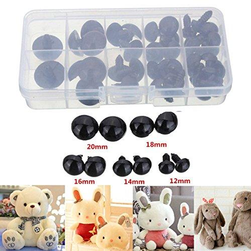 Drillpro 52Pcs 12-20MM Occhi Di Plastica Nera Per La Sicurezza Per Teddy Bear Bambola Animale Puppet Crafts