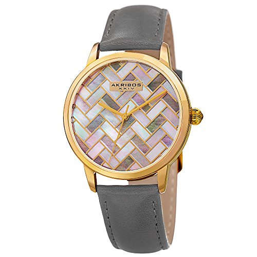 Akribos XXIV Women's Quartz Metal and Leather Automatic Watch, Color:Grey