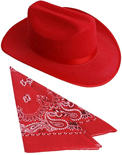 Child's Red Cowboy Outlaw Felt Hat And Bandana Play Set Costume Accessory