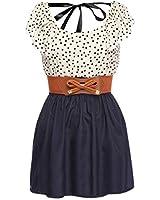 Zeagoo femmesMode taille haute Casual Dots Robe courte avec ceinture