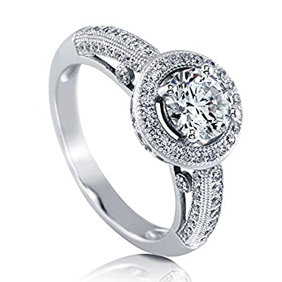 BERRICLE Sterling Silver with Round Swarovski Zirconia Halo Promise Engagement Wedding Ring