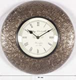 Purpledip Wooden Analog Wall Clock with Brass