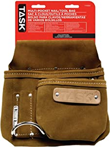 Task Tools T77202 Tradesperson's Leather Multi-Pocket Nail/Tool Bag, 5-Pocket at Sears.com