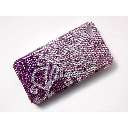 Purple Pink Swirl Jewel iPhone 4S 4 Case Cover With Swarovski Crystal Rhinestone