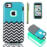 iPhone 5C Case Cover, ULAK 3in1 Fashion Chevron Wave Pattern Armored Hybrid inner Hard PC & Soft TPU Combo Case for Apple iPhone 5C with Screen Protector and Stylus -Retail Packaging (Follow the Sky with Mint Green PC)