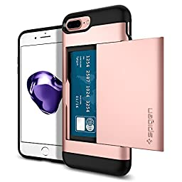 iPhone 7 Plus Case, Spigen [Slim Armor CS] Card Holder [Rose Gold] Slim Fit Dual Layer Protective with Card Slot Holder Wallet Case for Apple iPhone 7 Plus (2016) - (043CS20527)