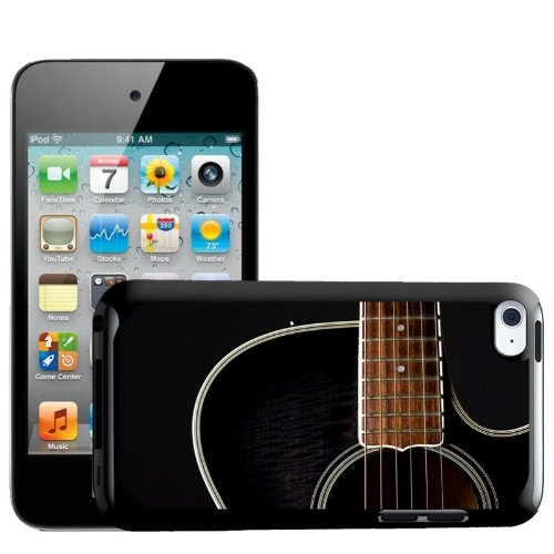 Fancy A Snuggle Close Up Of Black Wooden Guitar Design Hard Back Case Cover for Apple iPod Touch 4th Generation