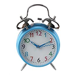 4 Inch Twin Bell Blue Alarm with Bent Second Hand, Wall Hanging or Table Clock (Blue 1)