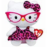 Say hello to this cute and cuddly kitty! Hello Kitty USA Beanie Baby by Ty is a soft white plush toy that brings the wildly popular Hello Kitty character to life. This cute cat wears red glasses and a pink and black print dress.