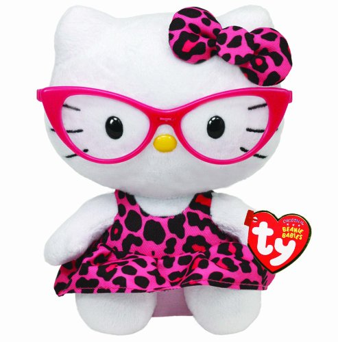 Ty-Beanie-Baby-Hello-Kitty-Plush-Pink-Leopard-Nerd-with-Glasses