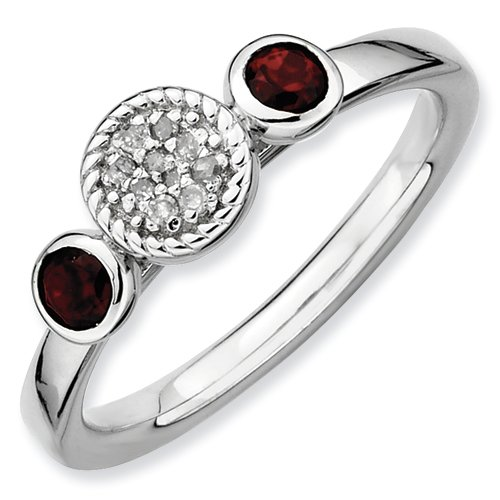 Sterling Silver Stackable Expressions Db Round Garnet & Dia. Ring (Size 7)