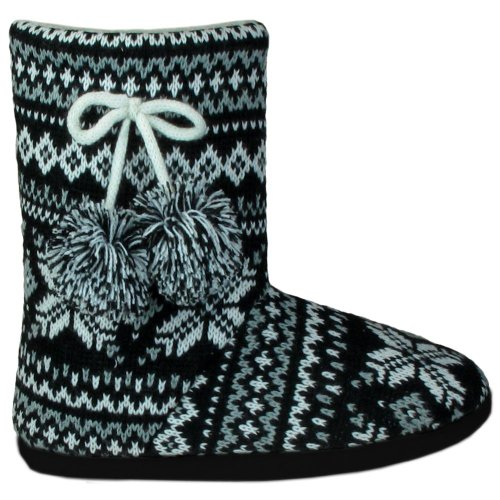 Image of Capelli New York Winter Fairisle Boot With Tie & Pom Trim Ladies Indoor Slipper (B005UZKIKC)