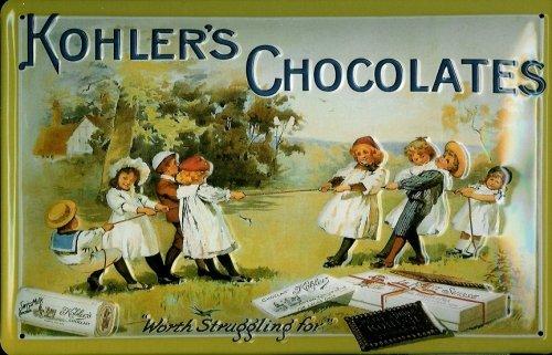 Affiche-mtallique-avec-kohlers-chocolates-kinder-chocolat-plaque-publicitaire-rtro