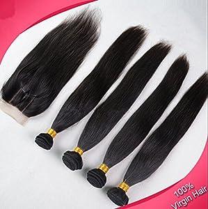 DaJun Hair 3 Part 4x4 lace closure with Good Philippines Remy Human Hair 3 Bundles Hair Weaves Mixed Length 4Pcs Lot Natural Straight Natural Color (trademark:DaJun)
