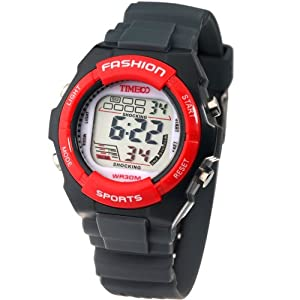 Time100 Kids' Digital Timing Multifunctional Dark Grey Strap Sport Electronic Watch#W40011L.05A