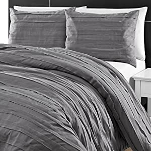 P&R Bedding Loft Stripe Embellished 3 Piece Comforter Set in Gray (Queen, Gray)