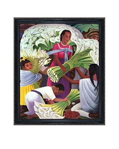 Diego Rivera's Mercado De Flores Framed Hand Painted Oil On Canvas, Multi, 27 x 23