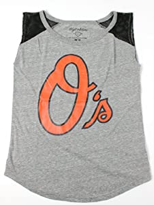 Baltimore Orioles MLB Ladies Sparks Scoop Neck Sleeveless Mesh Inset T-shirt by Wright & Ditson