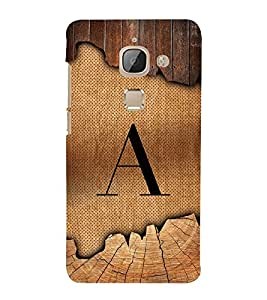 Initial A Wooden Texture 3D Hard Polycarbonate Designer Back Case Cover for LeEco Le Max 2 :: Letv Le Max 2
