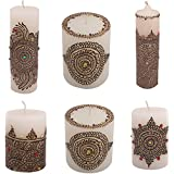 "Craftandcreations Combo Of Wax Henna Art Work Candles (3""x2"", 3""x3"", 3""*3"" ,6""x2"", 3""x3.5"" And 8.5""x2"", White)"