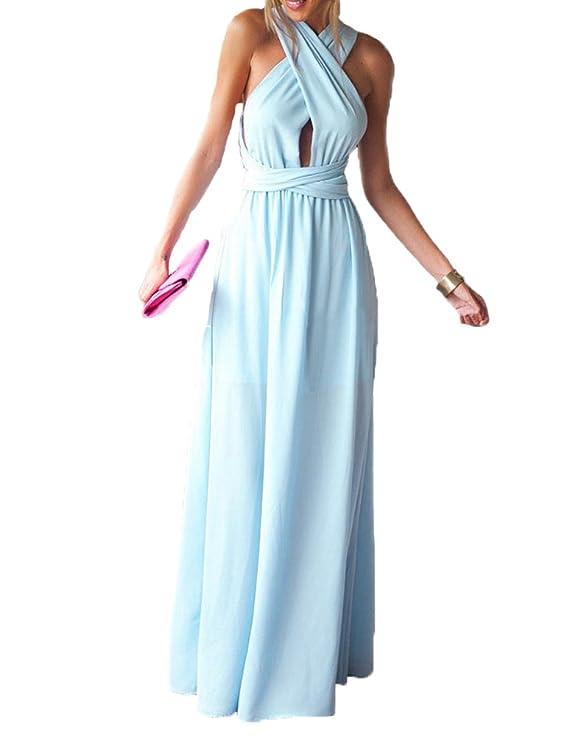 made2envy Halter Twist Cross Back Chiffon Summer Maxi Dress