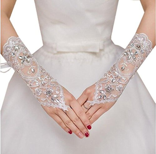MisShow Lace Fingerless Rhinestone Bridal Gloves for Wedding Party,White 2,One Size