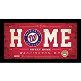 """MLB Washington Nationals Home Sweet Home Sign with Game-Used Dirt from Nationals Park, 6 x 12"""", Red"""