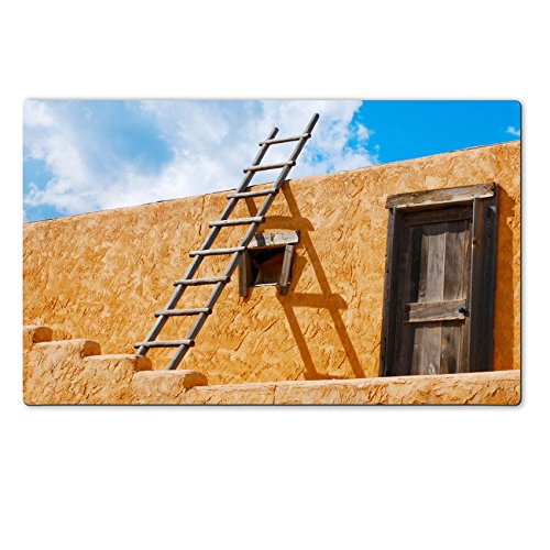 Liili Premium Large Table Mat 28.4 x 17.7 x 0.2 inches Ladder on a Southwest style stucco building in New Mexico Photo 5582368