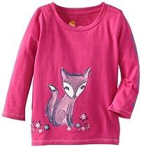 Carhartt Baby-girls Infant Long Sleeve T-Shirt Fox, Pink Thistle, 12 Months